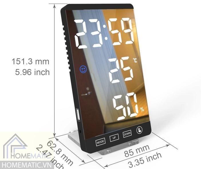 Màn hình đa chức năng hiển thị đồng hồ, nhiệt độ, độ ẩm