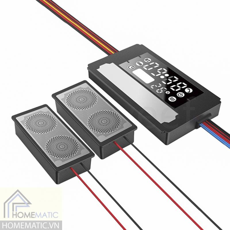 Công tắc gương cảm ứng chạm bật đèn hỗ trợ màn hiển thị nhiệt độ, độ ẩm, loa bluetooth HMCY-D12TOK60