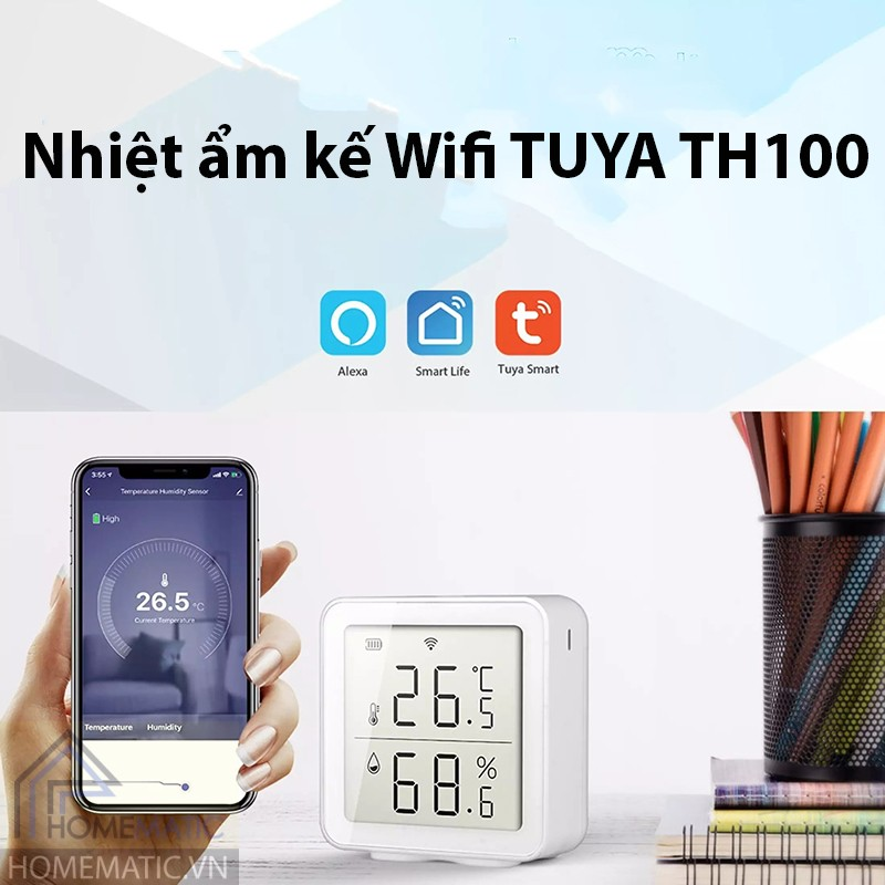 Nhiệt ẩm kế wifi Tuya TH100