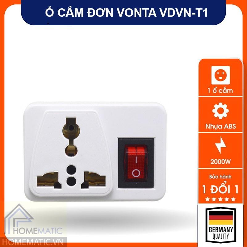 Ổ cắm đơn có công tắc nguồn Vonta VDVN-T1