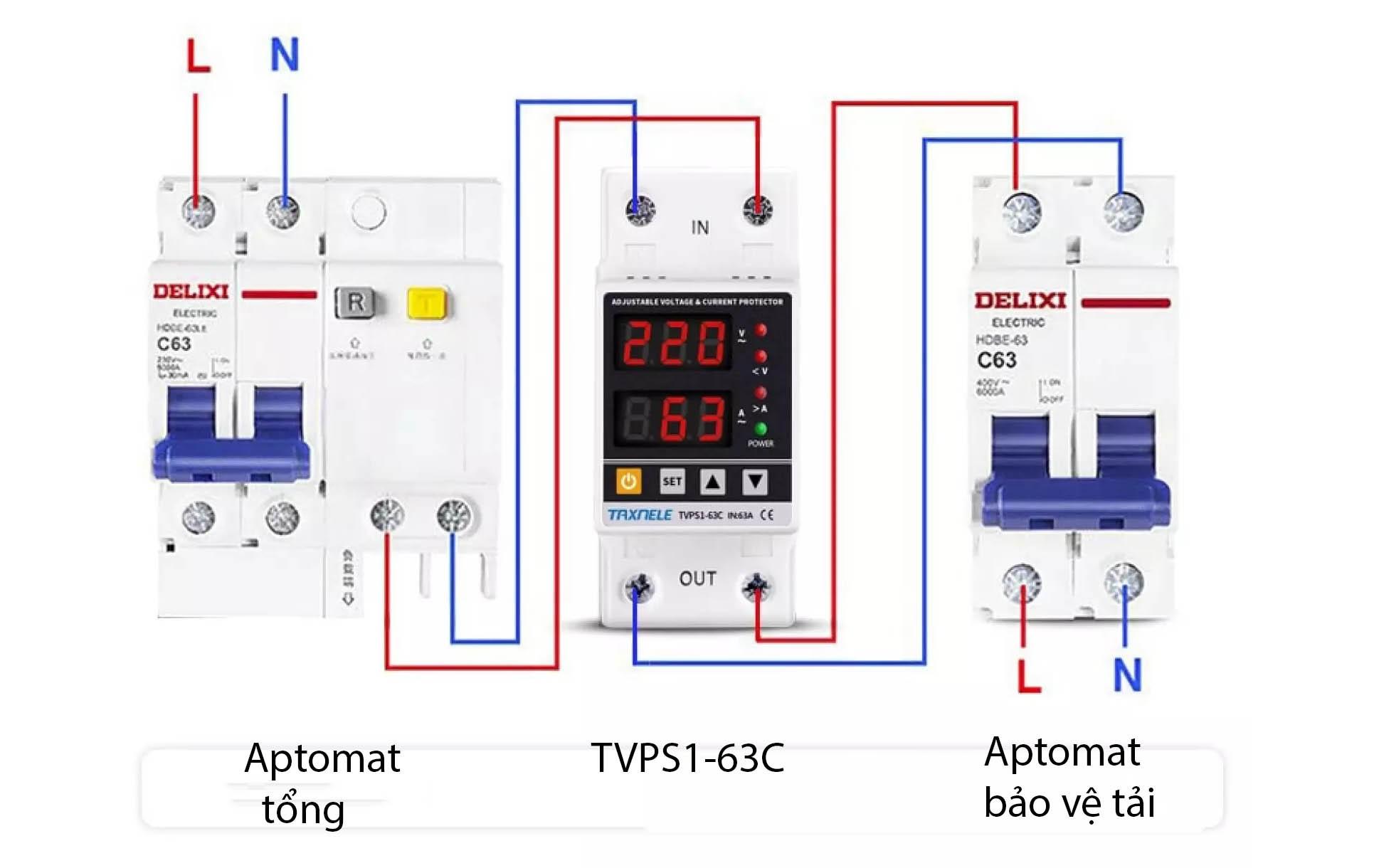 Thiết bị bảo vệ quá áp, thấp áp, quá tải 63A TVPS1-63C