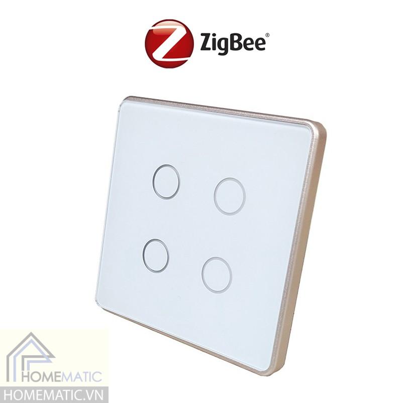 Công tắc Zigbee mặt kính cảm ứng vuông viền kim loại Tuya HM42