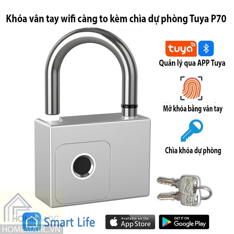 Khóa vân tay wifi càng to kèm chìa dự phòng Tuya P70