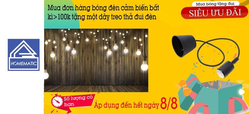 Khuyến mãi mua đèn cảm biến tặng đui đèn (Đã kết thúc)